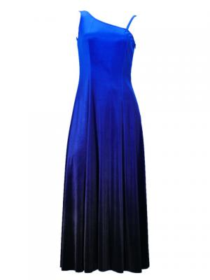 Hula One Shoulder Gradation Velvet Dress / Luxury Collection / Blue & Black / G2347blbk