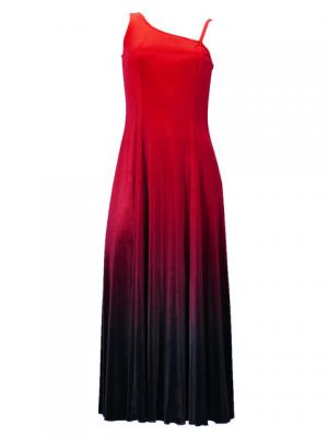 Hula One Shoulder Gradation Velvet Dress / Luxury Collection / Red & Black / G2347rdbk