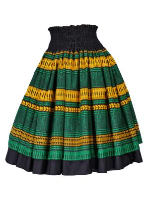 Hula Double & Reversible Pau Skirt with Kahiko  Print / Black / G2372