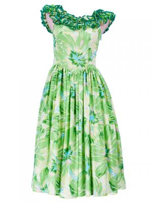 Hula Midi Dress with Hibiscus Print / Green / G2380gr