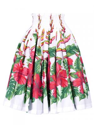 Hula Pa'u Skirt with Hibiscus Print / White / G2395