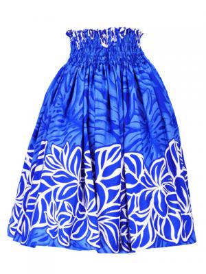 Hula Pa'u Skirt with Plumeria Print / Blue / G2397