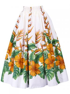 Hula Long Pa'u Skirt with Hibiscus Print / Cream / G2403