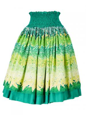 Hula Double & Reversible Pau Skirt with Maile Print / Green / G2424