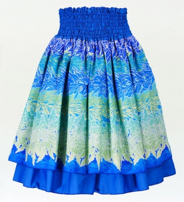 Hula Double & Reversible Pau Skirt with Maile Print / Royal Blue / G2426