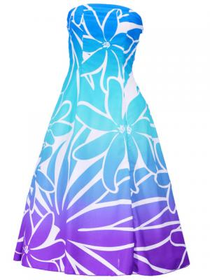 Hula Strapless Dress with Tiare / Blue & Purple  / G2428blpu