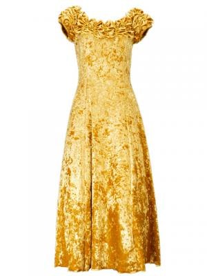 Hula Off Shoulder Dress with Crushed Velvet / Gold / G2429gd
