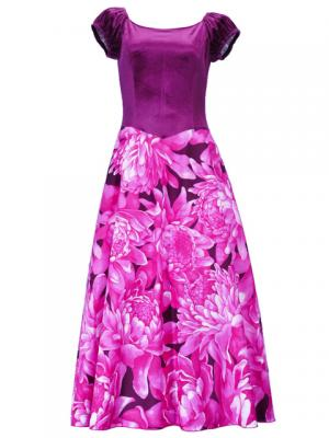 Hula Paff Sleeve Dress with Velvet & Protea Print / Pink / G2432pi