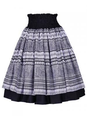 Hula Double & Reversible Pau Skirt with Kahiko  Print / Black / G2437
