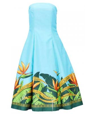 Hula Strapless Dress with Bird of Paradise / Blue  / G2474bl