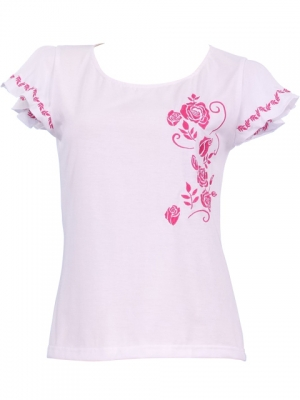 Hula T-shirt / Frilled Sleeve with Rose embroidery / GKD8piw