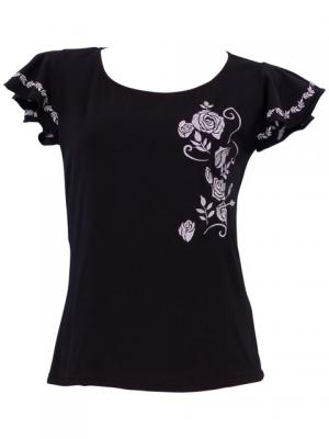Hula T-shirt / Frilled Sleeve with Rose embroidery / GKD8sb