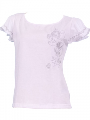 Hula T-shirt / Frilled Sleeve with Rose embroidery / GKD8sw