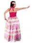 Hula Long Dress with Flower Print / Pink / G1630pi