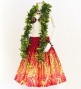 Hula Pa'u Skirt with Protea & Torch Ginger Print / Red / G2629
