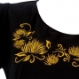 Hula T-shirt / Frilled Sleeve with lehua embroidery / GKD7gb